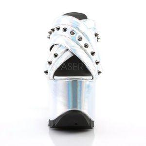 66cc68cebef Demonia Shoes - NEW Pleaser Demonia Cramps Silver Hologram Heels